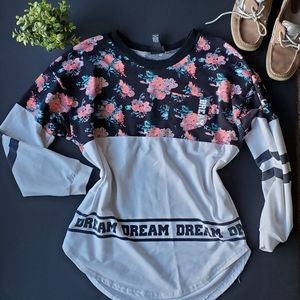 Rue 21 Floral and White Blocked Sweatshirt